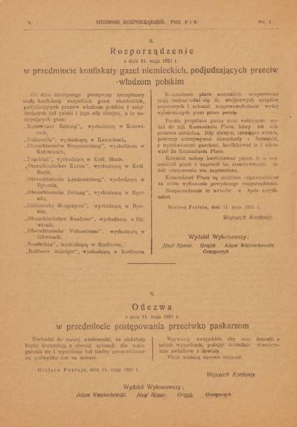 Skan z Dziennika Rozporządzeń - Rozporządzenie ws. konfiskaty gazet niemieckich...