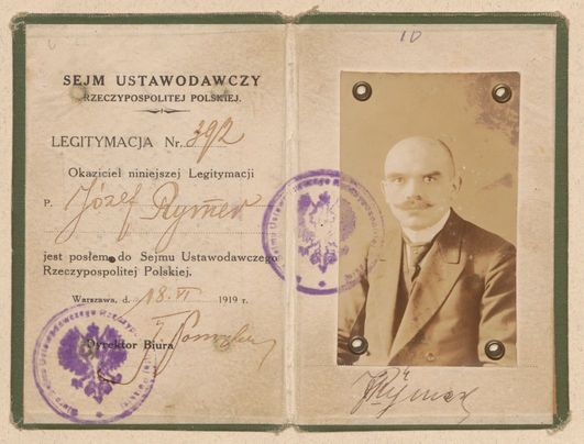 Legitymacja poselska Józefa Rymera