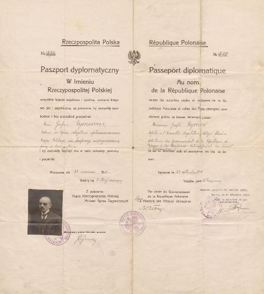 Skan paszportu dyplomatycznego Józefa Rymera